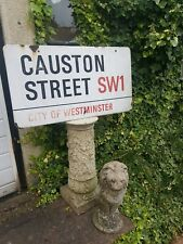 Antique Original London English Enamel Road Sign Causton Street Westminster SW1