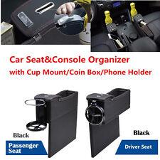 Black PU Car Seat Gap Filler Catcher Coin Organizer Cup Holder Storage Box 2 Pcs