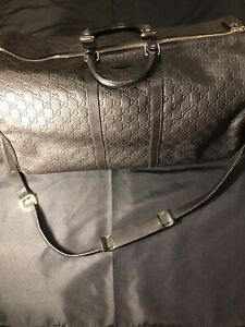 GUCCI DARK BROWN LEATHER DUFFLE SHOULDER BAG LARGE 205600 $2300 RETAIL AUTHENTIC