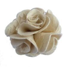 Pince à cheveux broche fleur feutrine beige crème dentelle cérémonie mariage