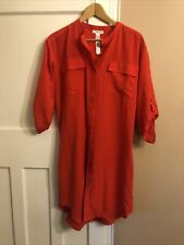 Calvin Klein Red Shirt Dress Smart Casual M Bnwt