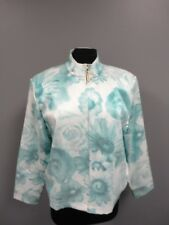 ST. JOHN SPORT Green White Floral Polyester Blend Zip Front Jacket Sz L EE7575