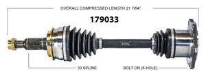 New CV Shaft 179033 Worldparts CV Axles