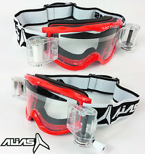 ALIAS RIVAL MOTOCROSS MX GOGGLES RED with GOGGLE-SHOP GSVS ROLL OFF SYSTEM