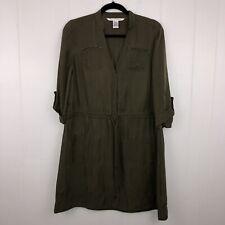 Diane Von Furstenberg Women's Anina Shirt Dress Army Green Size 6