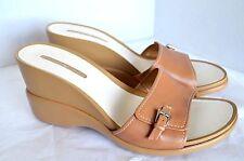 Bandolino Slides Womens 10.5 M Brown Leather Wedge High Heel Slip On Sandal
