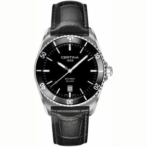 Certina Men's C0144101605100 DS First 41mm Black Dial Leather Watch