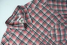 LACOSTE Men's 2XL sz 45 Pink Plaid Dress Shirt Long Sleeve Modern Fit