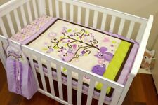 Baby Cot Set 3 pce Set Appliqued Quilt Owl Purple Motifo Fitted Sheet, Cot Skirt