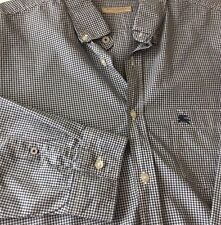 Burberry Brit Mens Long Sleeve Button Front Shirt With Logo Blue Checks Size XXL