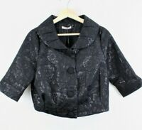 Darling Womens Floral Textured Cropped Jacket Black Button Down Size Medium