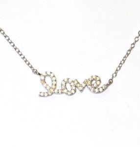 "925 Sterling Silver Cubic Zirconia cz ""Love"" pendant necklace 1.6g ladies 18"""