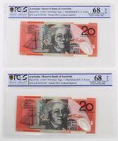 1997 Australia Consecutive Pair $20 Note First Prefix Gem Unc 68 OPQ PCGS AA 97