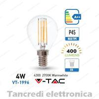 Lampadina led V-TAC 4W = 40W E14 bianco caldo 2700K VT-1980 P45 filamento globo