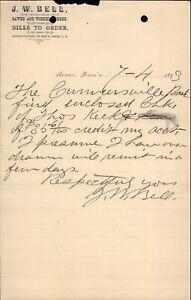 1893 Beaver Pennsylvania (PA) Letter J.w. Bell J W Bell
