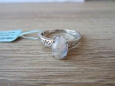 Sri Lankan Rainbow Moonstone Ring Platinum Over Sterling Silver Size 7
