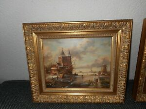Old oil painting, 1. { Winterlandscape - windmills and ice skaters, is signed }.