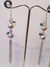 925 Sterling silver Drop Dangle Freshwater pearl  Grey Earrings