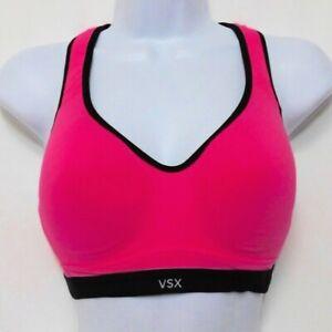 Victorias Secret VSX Incredible Sport Bra 32D Racerback Hot Pink Black Flawless