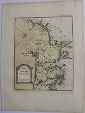 PLAN DE LA BAYE DE CADIX. Bellin. Carte originale de 1764. Dimensions de la feu