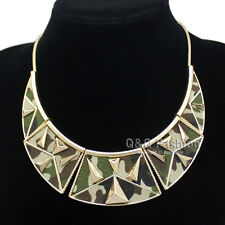 Egyptian Gold Military Camouflage Camo Moon Pyramid Snake Chain Bib Necklace H8