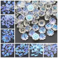 10pcs Flower Petals Aurora Crystal Glass Loose Beads Pendants Jewelry Charms DIY