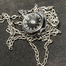 Rare Contex Swiss Ball Charm Pendant Watch Swiss Chain Necklace Black Dial