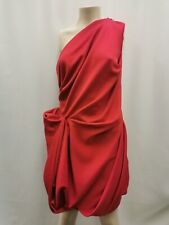 River Island ladies ruched dress one shoulder red with zips polyester size 14 03