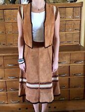 VINTAGE Suede Leather Rust Patchwork Skirt & Vest Mid Century Modern 1970's Mod