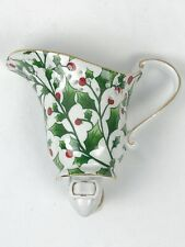 Holly Berries PORCELAIN Milk Creamer Night Light w/ON/OFF Switch White Green Red
