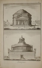 "Stampa antica ""Pantheon - Mausoleo Adriano"" Diderot D'Alambert Roma old print"