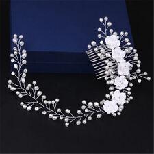 Handmade Luxury Wedding Hair Jewelry Bridal Pure White Flowers Pearl Hair Comb