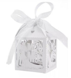 50 PCS Mr & Mrs Wedding Favours Favor Boxes Love Heart Sweet Candy Boxes