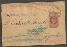 Qv 1/2D Brown Wrapper London Fb To Salla Argentina Handstamp Supplementary Mail