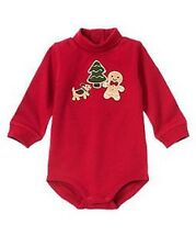 GYMBOREE BOYS 3-6 MO GINGERBREAD RED TURTLENECK CHRISTMAS ONE PIECE