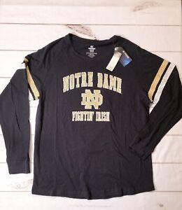 COLOSSEUM Mens 3XL Blue Notre Dame Henley Shirt NCAA Fighting Irish Logo T-Shirt