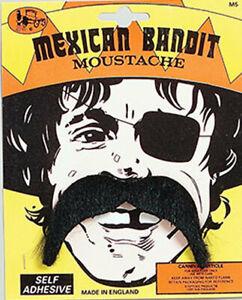 Mexican Pirate Mustache Moustache Tash 60s 70s Pimp Fancy Dress Costume
