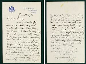 New Year's Day 1924 King George V original handwritten letter SIGNED harry legge