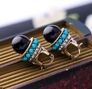 Chic Bohemian SATELLITE Turquoise Blue BALL Black Drop Rhinestone BOHO Earrings