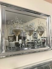 Gold Cocktail glass 3D glitter art mirrored picture, 3 cocktail glass picture