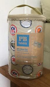 Pottery Barn Teen NFL Football TEAM LOGO Tan Twin XL Sheet Set