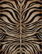 "Modern Zebra Black Area Rug 2x7 Animal Print Stripe Runner - Actual 1'9""x7' 2"""