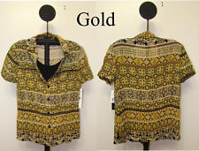 Notations Gold Women's Button Front Bead Trim Layered Look Top - Size M