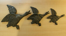 3 Graduated Cast Brass Geese Ducks Wall Hangings Decorations Nice Patina