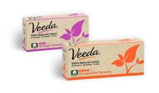 Veeda Natural Tampons, Super and Super Plus, Non-Applicator, 1 Box of 16 Count