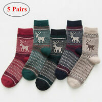 5 Pairs Women's Winter Warm Mid Calf Socks Novelty Christmas Elk Socks Lots Gift