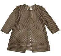 CHICO'S TRAVELERS WOMEN'S PATTERN STRIPE JACKET DEEP TAUPE SIZE 0 (4/6) NWT $139