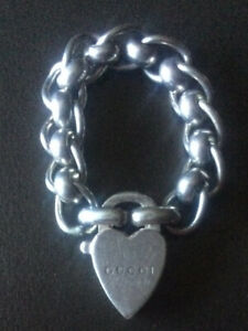 Gucci Chain Ring Padlock Love Heart 925 Sterling Sliver Size K