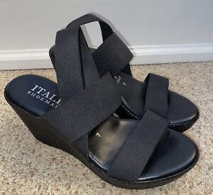 Italian Shoemakers 7 Black High Wedge Platform Strappy