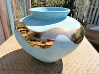 """Vera Russell original signed clay pottery 11"""" Turquoise vase with 22k gold"""